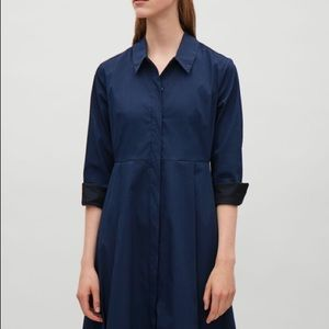 Cos sz 4 navy blue button up trench dress